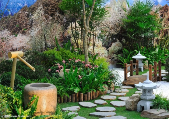 Japanese garden style step stone and lantern